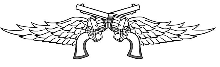 crossed Pistol Tattoo Drawings | guns with wings graphics and comments