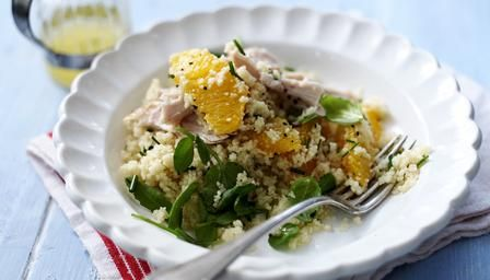 Chicken Salad with Couscous - great for the grown-ups (and older children).  Easy to eat and refreshing. Recipe from:  http://www.bbc.co.uk/food/recipes/chickensaladwithcous_92275  #nutmegcomp