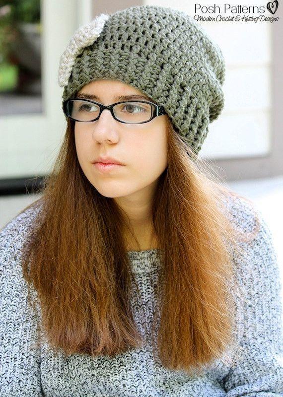 Crochet PATTERNS - Modern Crochet Slouchy Hat and Bow Pattern