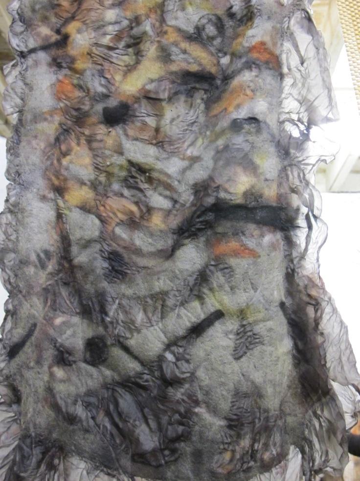 nuno felt, eucalyptus and iron dyed
