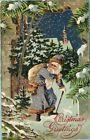 S5036 Purple Suited Santa Claus postcard, Embossed, Unused