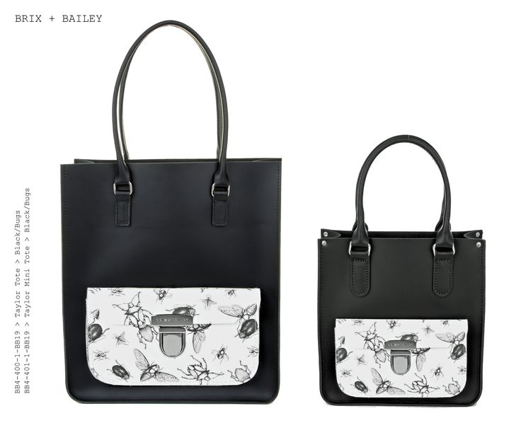 Brix + Bailey Large + Mini Taylor Leather Totes - Black/Bugs - Made in England - www.brixbailey.com