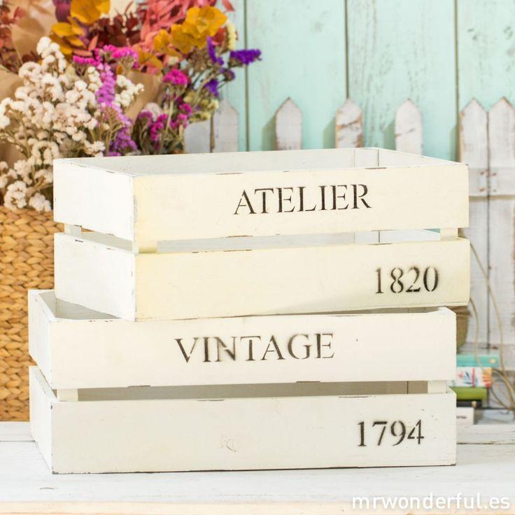 Caja de madera blanca estilo vintage - Grande - Cajas y bandejas de madera - Decoración