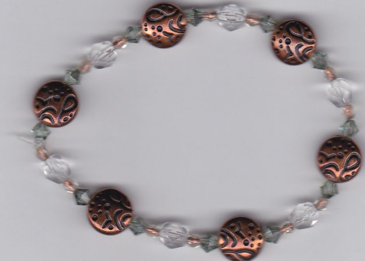 Clear, Green and Copper Elastic Beaded Bracelet by Crisseyscreations on Etsy