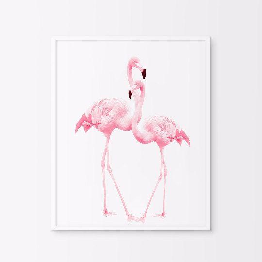 Pink flamingos / acuarela arte flamencos/vivero / por Byoliart