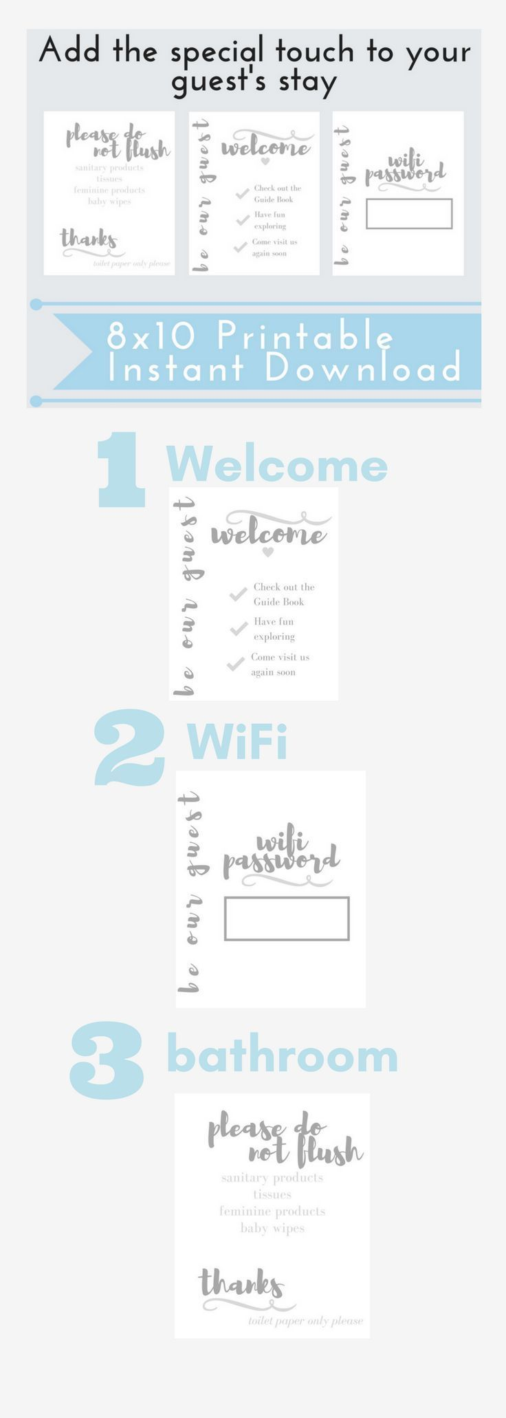 This set is easy to print, makes decorating your home easy and adds the special touch to your guest's stay. Decorate with this wifi password sign, bathroom 'do not flush' sign and welcome sign. Download once and print as many as you need.This AirBnB 8x10 Printable Set is a great addition to your rental unit to add value and be seen as an experienced, thoughtful host. This bundle includes 3 signs. One for the wifi password, one for the bathroom and another with welcome instructions.