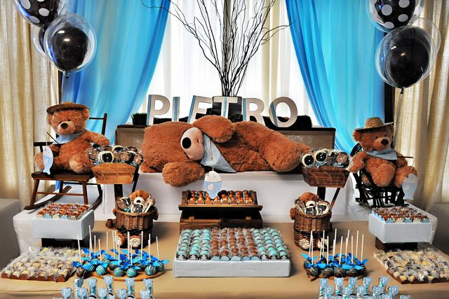 """Photo 1 of 20: Blue and brown teddy bears / Birthday """"Let's go to the river?"""" 