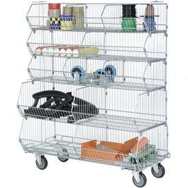 "Stackable Wire Storage Bin Rack, 36""W X 20""D X 51""H, 5 Wire Bins"