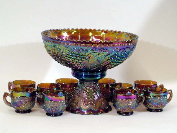 Imperial Glass Carnival Glass Punch Bowl & Cups