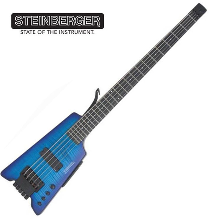 Steinberger Synapse XS-15FPA Custom Bass Blue Headless 5String Bass EMG Piezo #Steinberger