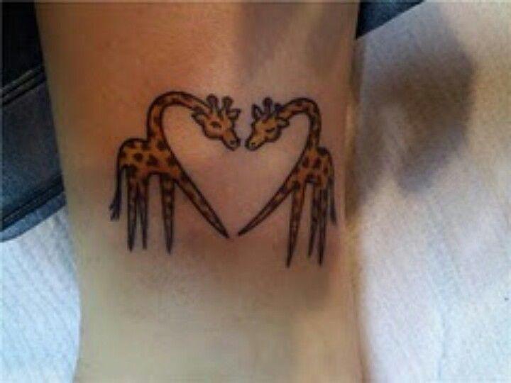 Mom And Baby Giraffe Tattoo Outline