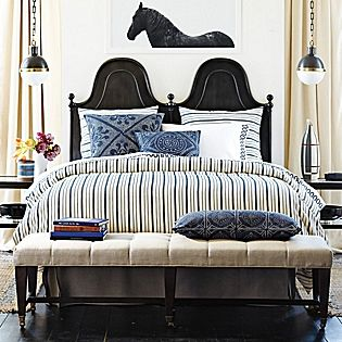 a grown up guy's bedroom with deep blue, khaki and black from #serenaandlily