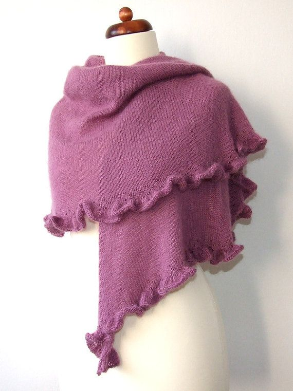 cozy purple shawl with ruffle and beads handknit mohair wrap