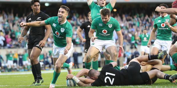 Ireland's shock win over the All Blacks has shrunk the gap between the All Blacks and the rest of the world in the latest World Rugby rankings. Photo / Photosport