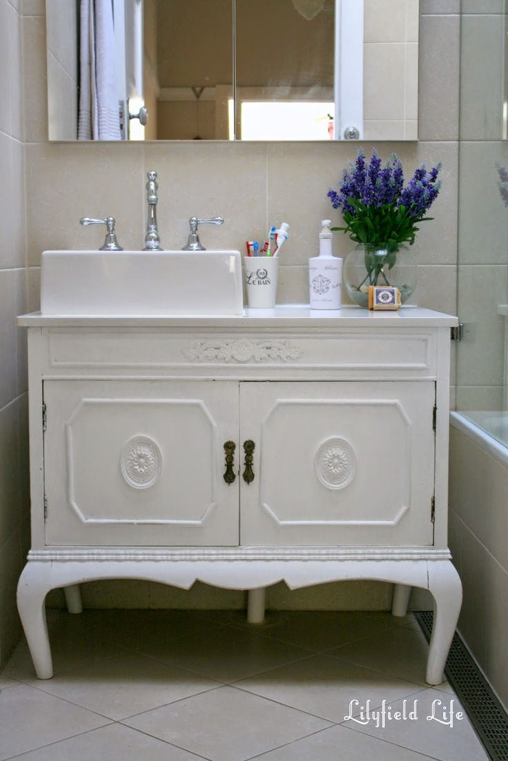 Vintage Cabinet turned Bathroom Vanity and my daughter at the ...