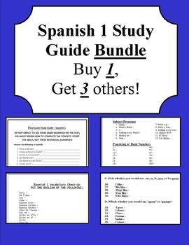 I am known for making a new study guide EVERY year. This is a bundle of 4 different study guides that are great for a mid-term exam of Spanish 1. Each work is different and includes various materials. There are some information that are on EVERY study guide and some have additional information.