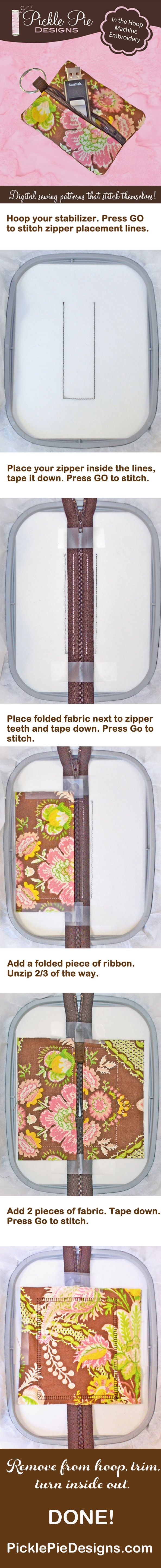 """Heard the buzz about """"in the hoop"""" machine embroidery?! If you own an embroidery machine, you can make this FAST, FUN and EASY zipper case project - even if you don't know how to sew!!! Check out PicklePieDesigns.com for your new addiction! #machinembroidery #inthehoop"""
