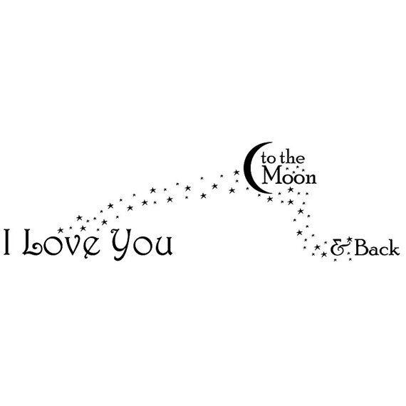 Te amo a la luna y volver. Etiqueta de la pared por Decals4MyWalls