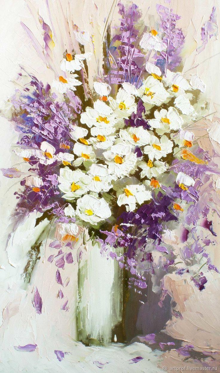 Купить Картина маслом Ромашки в цвету, 41х67см в интернет магазине на Ярмарке Мастеров