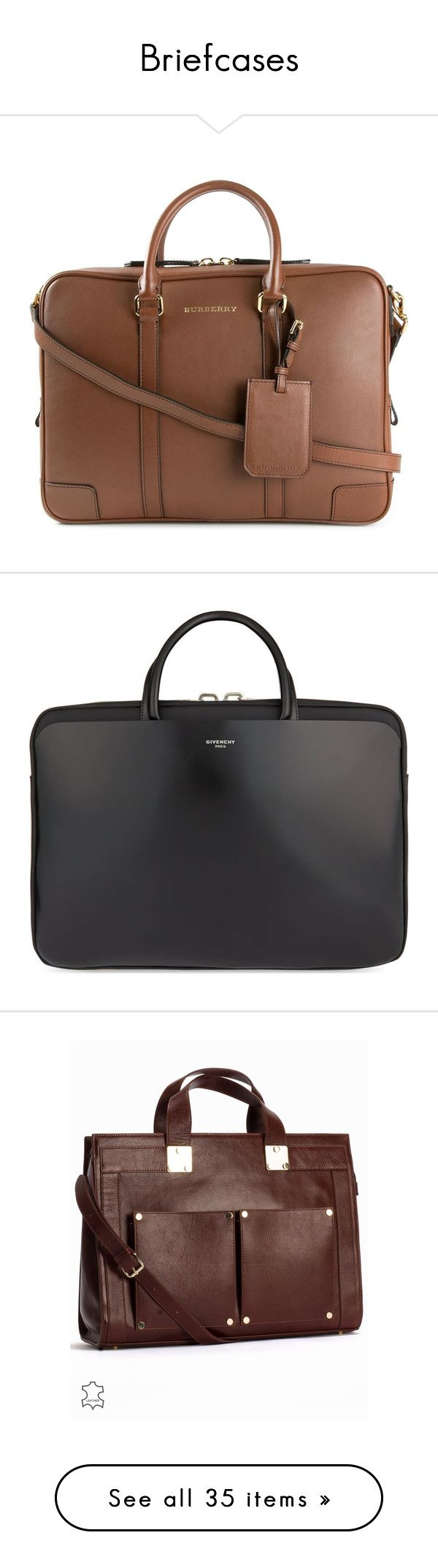 Briefcases by mon-ami-louis on Polyvore featuring bags, briefcases, briefcase, brown, briefcases and attachés, handbags and purses, black, accessories, cognac and womens-fashion