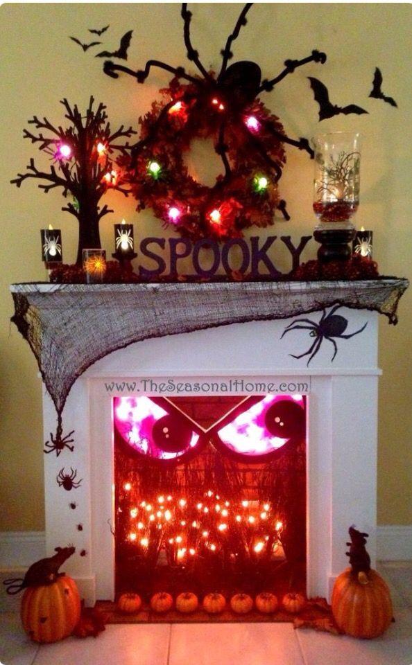 amazing halloween fireplace mantle decoration - Halloween Fireplace