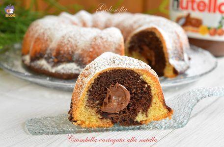 Ciambella variegata alla nutella-ricetta dolci-golosofia