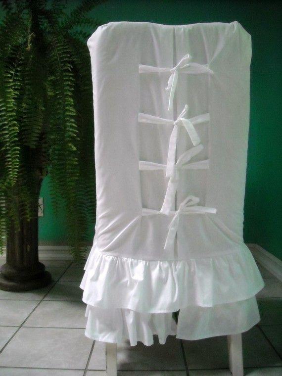 White Ruffled Chair Slipcover by PaulaAndErika on Etsy, $85.00