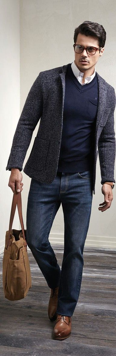 Street sophisticated style - White shirt, navy jumper, grey blazer, jeans, brown shoes and bag and glasses. JustBeStylish.com