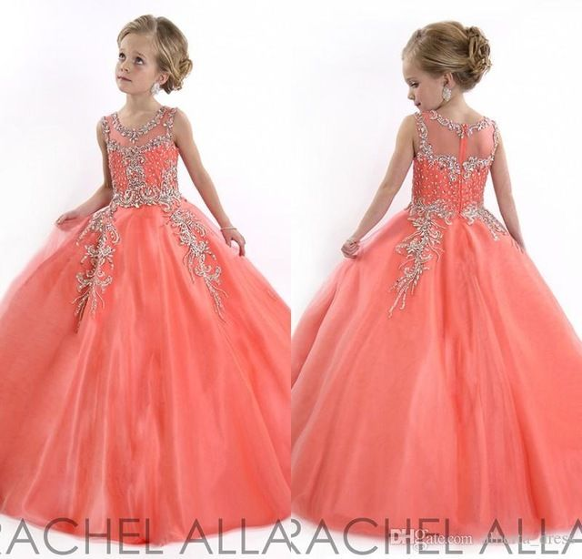 2017 Coral Little Girls Pageant Dresses Princess Tulle Sheer Jewel Crystal Beading Kids Flower Girls Dress for Weddings F280