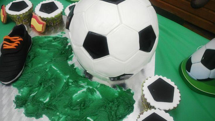 Soccer ball rounded cake