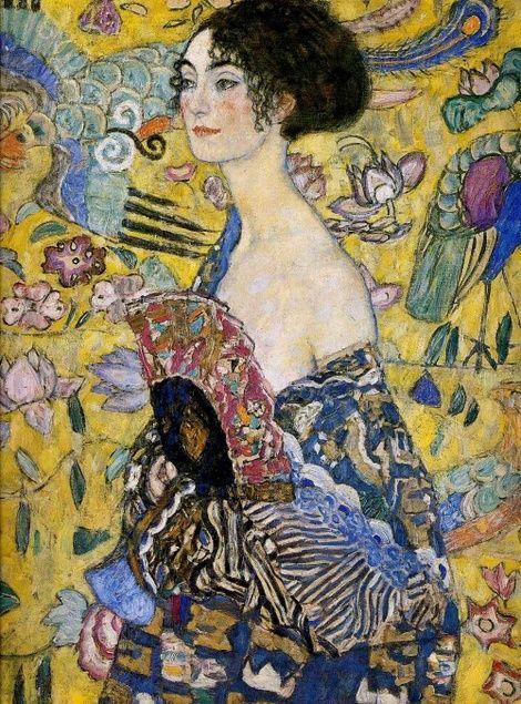 Obra titulada Lady with Fan de Gustav Klimt, año 1918.
