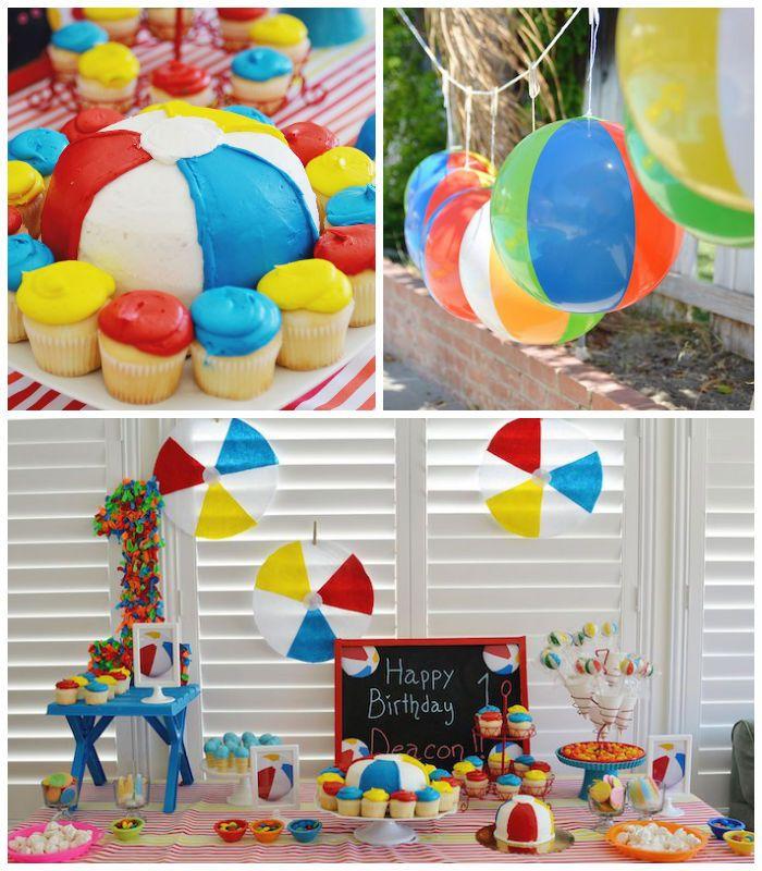 Beach Ball themed birthday party via Kara's Party Ideas KarasPartyIdeas.com Cake, decor, supplies, cupcakes, banners, tutorials and more! #beachballparty #beachball (2)
