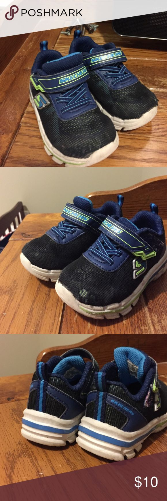 Sketchers memory foam sneaker Superficial wear in toe, reflected in pictures and price. Great tennis shoe- memory foam sole, Velcro inclosure Skechers Shoes Sneakers