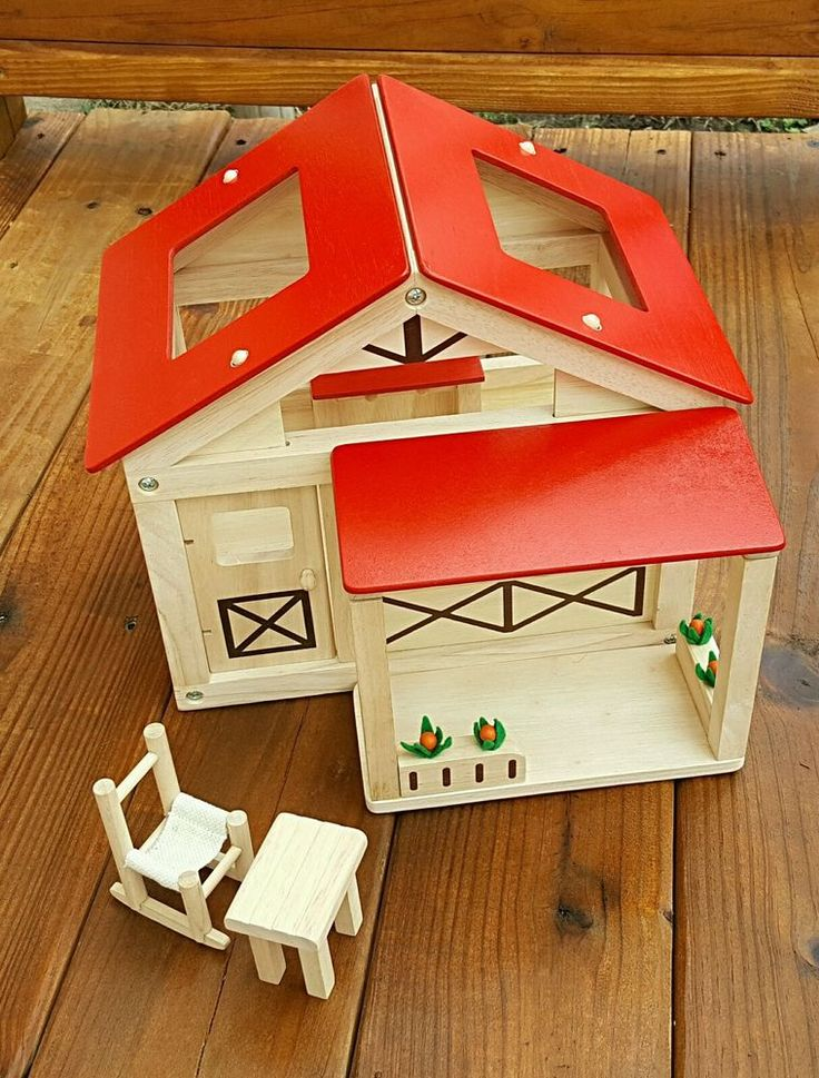 PLAN TOYS wooden FARMHOUSE w/ porch chair table green  | Toys & Hobbies, Preschool Toys & Pretend Play, Wooden & Handcrafted Toys | eBay!