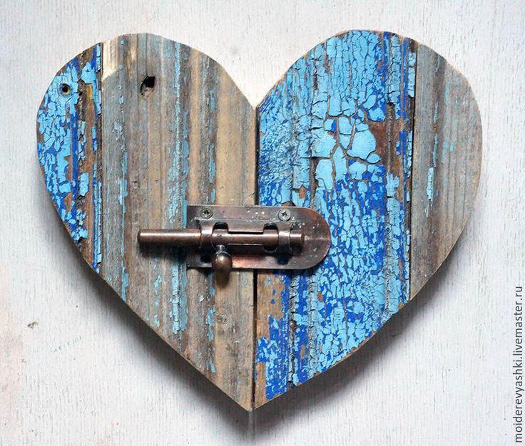 Купить декор украшение Сердце - голубой, Декор, старое дерево, дерево, кантри, сердце