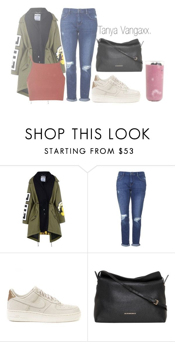 """Gros Bonnet."" by loverxofxfood ❤ liked on Polyvore featuring Moschino, Topshop, NIKE, Burberry and NISKA"