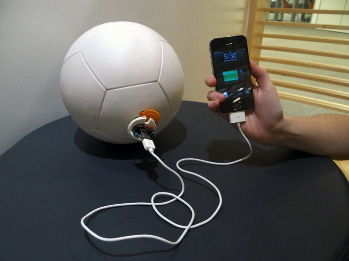 This soccer ball doubles as a portable power generator.