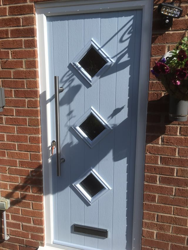 The Roma Solidor Composite Door in Duck Egg Blue with an 800mm stainless Steel handle Installed in Ilkeston, Derbyshire.  For a free quotation call us on 01158 660066 visit http://www.thenottinghamwindowcompany.co.uk or pop into our West Bridgford showroom. #Composite #Door #Solidor #Ilkeston #Derby
