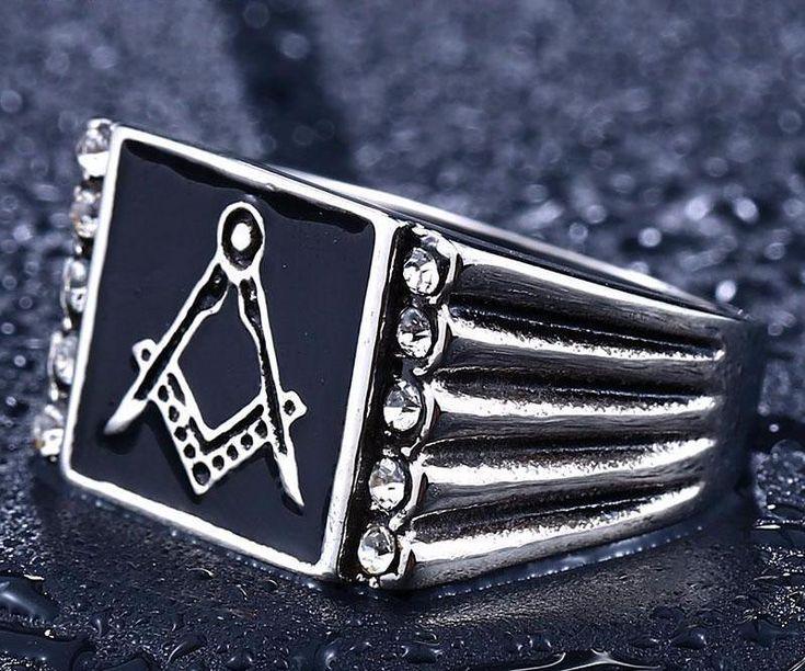 Bold Cubic Zirconia Freemason Ring