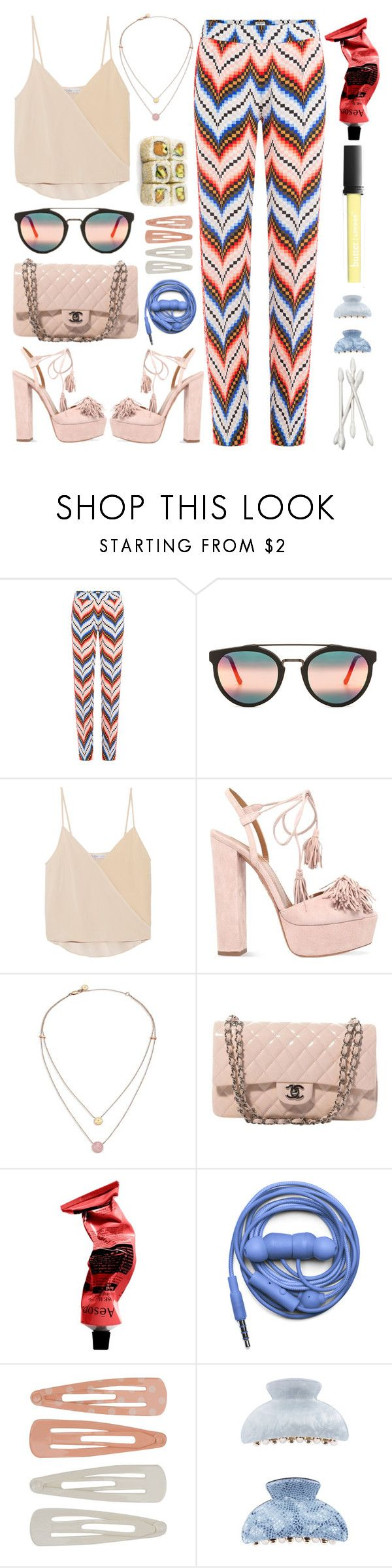"""""""Jive"""" by finding-0riginality ❤ liked on Polyvore featuring Kenzo, RetroSuperFuture, Chelsea Flower, Aquazzura, Michael Kors, Chanel, Aesop, Urbanears, Forever 21 and Butter London"""