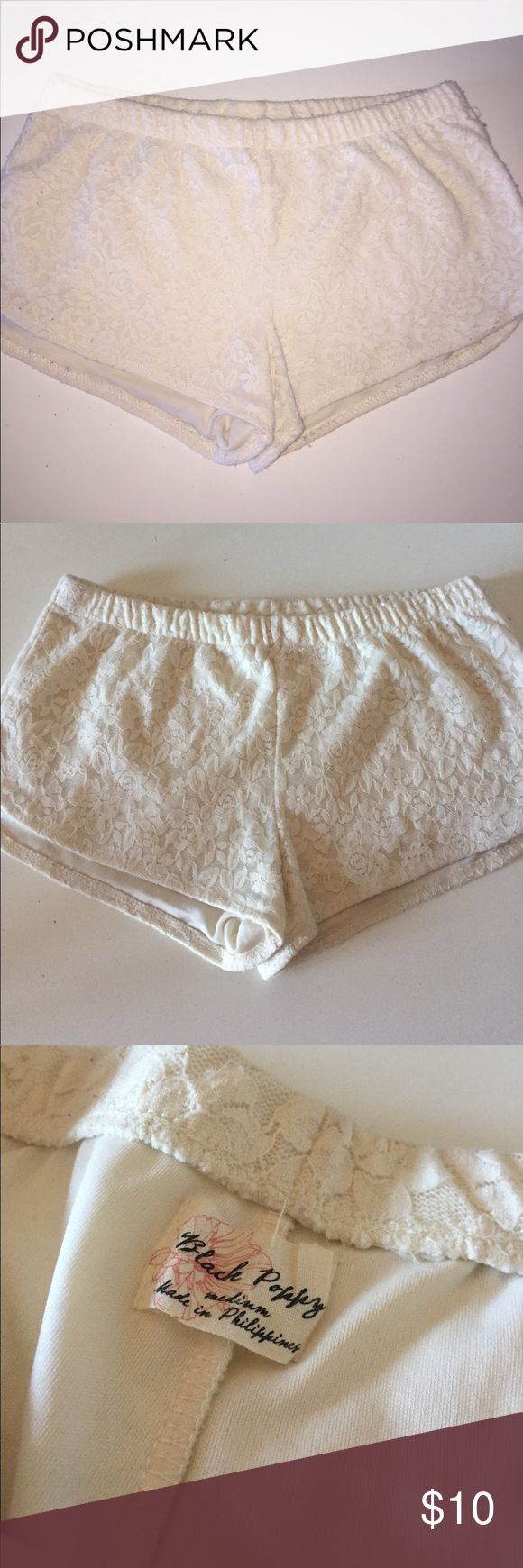 Lace shorts Elastic waist and cream lace detail. Super cute and comfy. Selling because they don't fit me! Offers welcome. black pepper Shorts