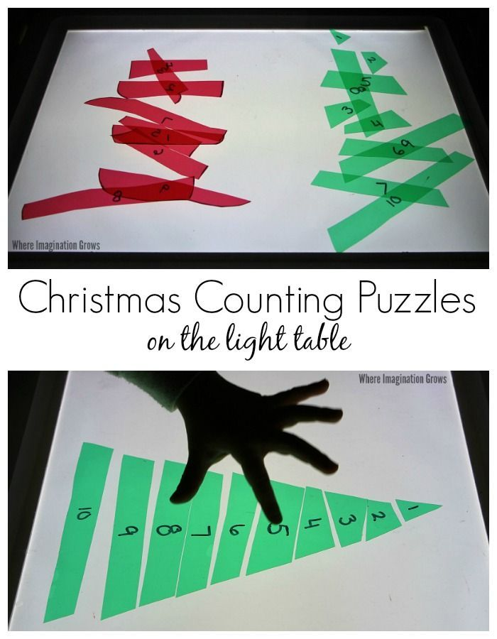Christmas themed counting puzzles on the Light Table! A hands-on way to teach counting, number order, and number recognition to toddlers and preschoolers.