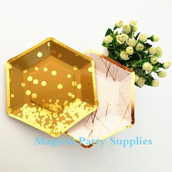 24pcs Small Gold Paper Plates Gold Foil 7 Inch Hexagonal Plates Disposable Paper Plates Wedding Copper Party Plate | Gold paper Wedding and Gender  sc 1 st  Pinterest & 24pcs Small Gold Paper Plates Gold Foil 7 Inch Hexagonal Plates ...