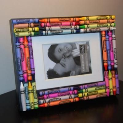 Kids did a frame similar to this for teacher appreciation gift. We used a cheap wooden frame and painted it first.