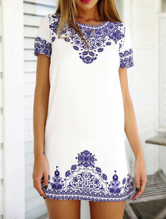 White and purple/blue print mini dress Ciao Bella by ShamrockArts