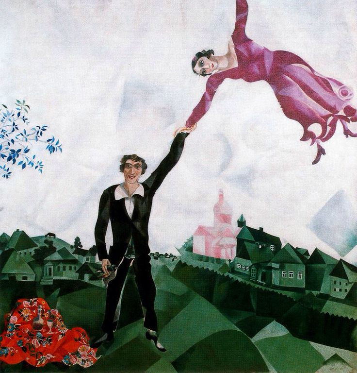 [Marc Chagall] The promenade, 1917 - Following his visit to Berlin in 1914, Chagall travelled home to Russia, intending to stay for a couple of months, however, the outbreak of War prevented his return to Paris. The most joyful event of the artist's return to Russia was his marriage to his fiancée Bella Rosenfeld in July 1915. Their marriage provoked a surge of creativity in Chagall and he embarked upon a major series of double portraits of himself and Bella, such as Lovers in Blue, 1914…