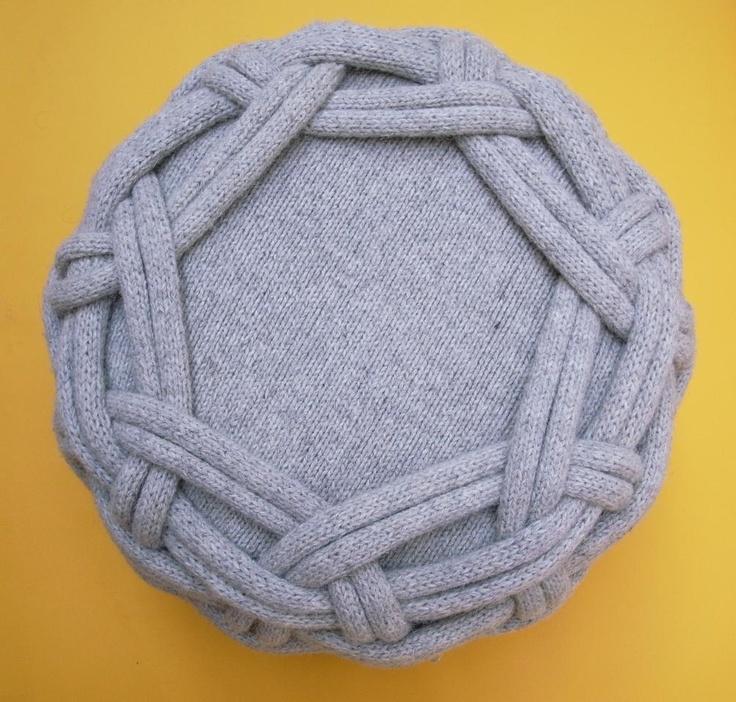 Ciseán grey pouffe by Claire-Anne O'Brien