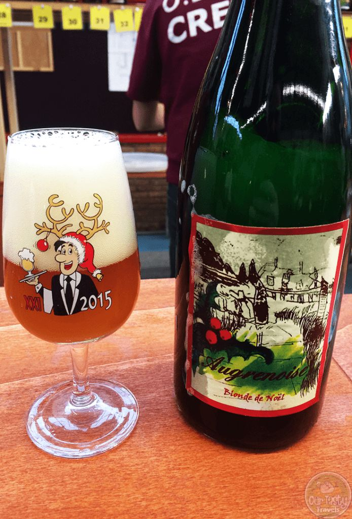 20-Dec-2015: Augrenoise Blonde de Noël by Brasserie Augrenoise. A 9.5% Christmas beer brewed at an annex of St. Alfred in Casteau, where the former Castle of Augrene serves as a home for the mentally handicapped. The label was hand-drawn by residents of the home. Brewed with Orval's yeast strain, fermented in an open tank. All ingredients come from Orval, and the brewing is assisted by the former brewer of Orval. The beer is yeasty, yet fruity. It's smooth. Very smooth. Toasty. But…