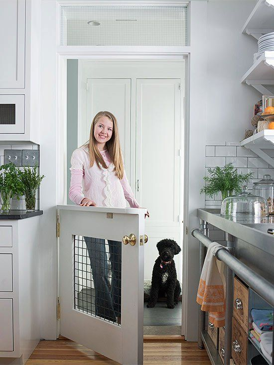 This DIY doggie door lets your pooch see in but keeps him out of your hair while cooking.