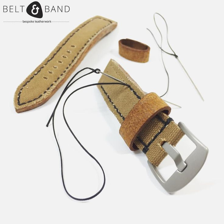 Real men do hand-stitching work. This is our Army Canvas Strap with an exotic lining and keeper.  #beltandband #leatherwork  #madeincapetown #bespoke #handmadestrap #handmade #blog #watches #watchesofinstagram #watchstrap #customstrap #canvas #canvasstrap #armycanvas #army #khaki #khakicanvas